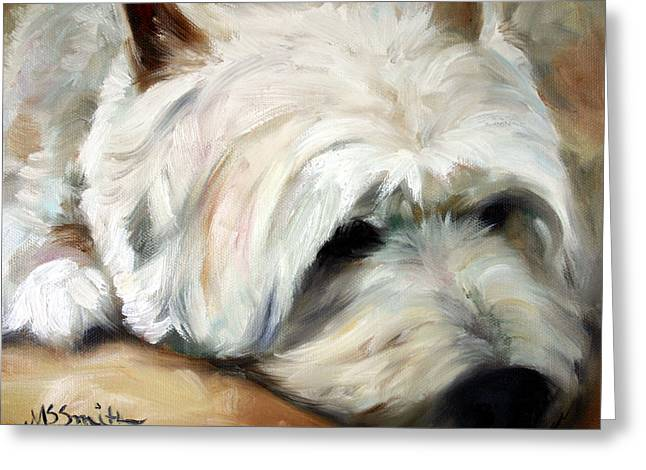 Mssmith Greeting Cards - Dog Tired Greeting Card by Mary Sparrow