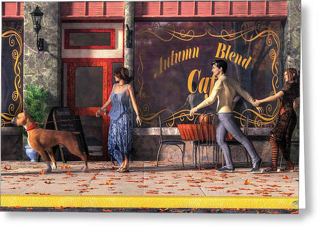Dog Walkers Greeting Card by Daniel Eskridge
