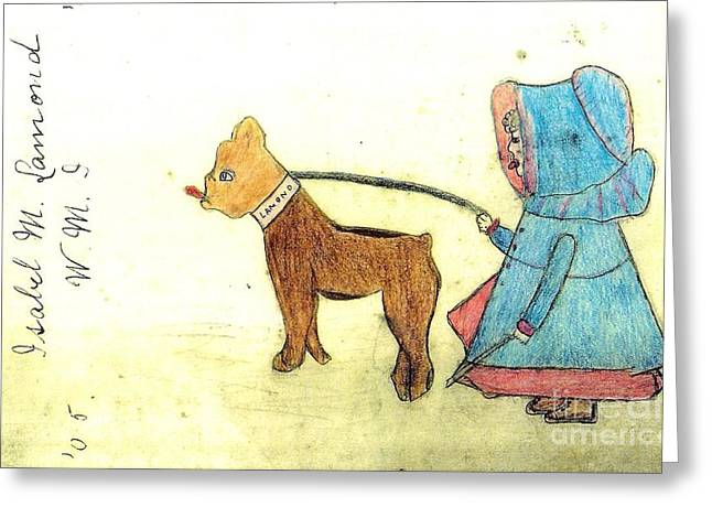 Dog Walking Drawings Greeting Cards - Dog walking Girl Greeting Card by Paula Schroeder