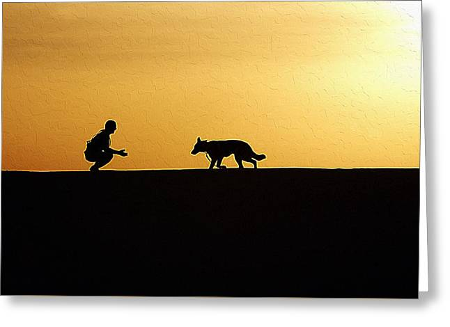 Working Dog Greeting Cards - Dog with owner Greeting Card by Queso Espinosa