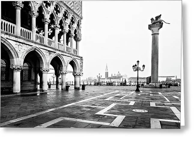 Doge's Palace On Piazza San Marco At Dawn - Venice Greeting Card by Barry O Carroll