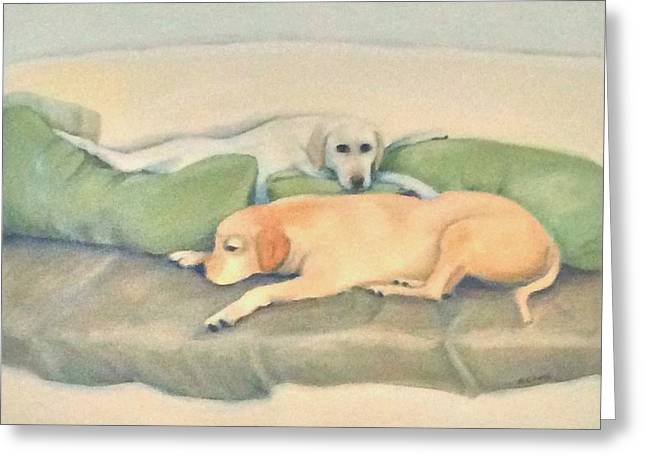 Lounge Paintings Greeting Cards - Doggie Day Spa Greeting Card by Nancy  Camm