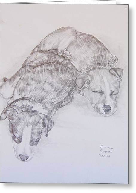 Puppies Drawings Greeting Cards - Doggies Greeting Card by Emma Lyon