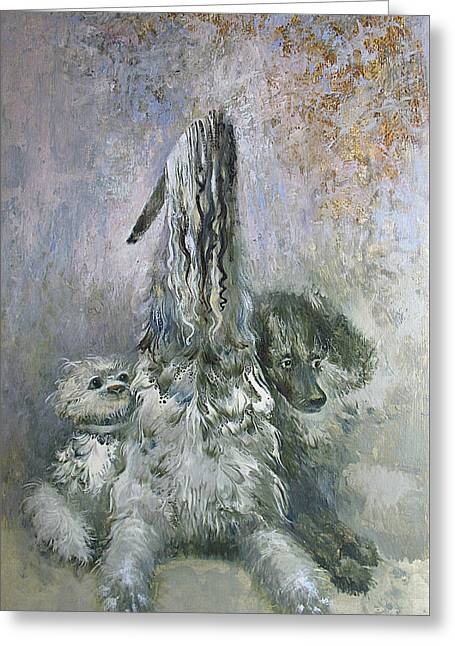 White Paintings Greeting Cards - Doggies  Greeting Card by Valentina Kondrashova