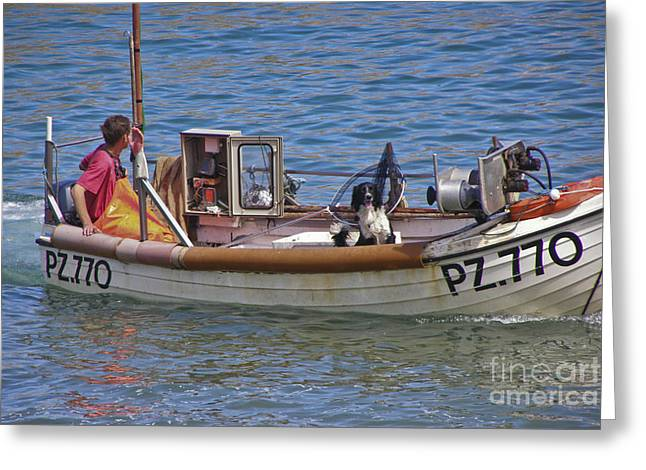 Wooden Ship Greeting Cards - Doggone Fishin Greeting Card by Terri  Waters