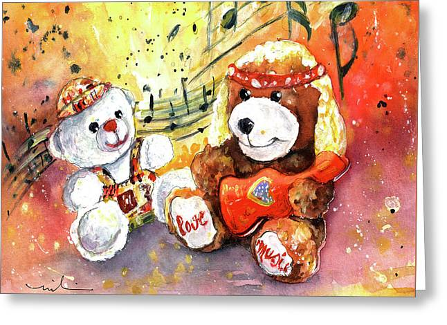 Doggy Guitar And His Roadie Greeting Card by Miki De Goodaboom