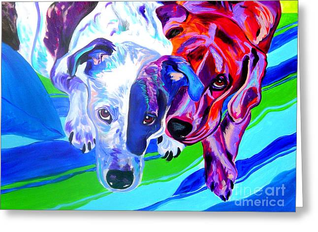 Dogs - Tango And Marley Greeting Card by Alicia VanNoy Call