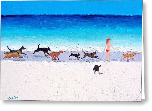 Dog Beach Print Greeting Cards - Dogs Day Out at the beach Greeting Card by Jan Matson