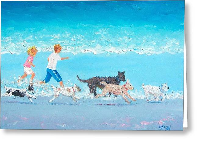 Sea Dog Prints Greeting Cards - Dogs Day Out Greeting Card by Jan Matson