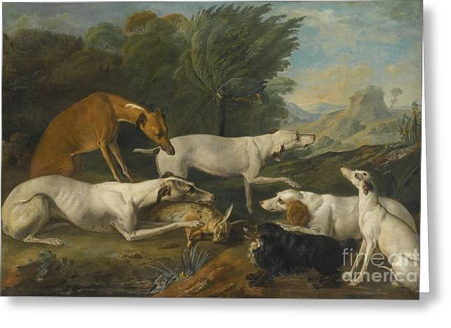 Dog In Landscape Greeting Cards - Dogs In A Landscape With Their Catch Greeting Card by Jacques-Charles Oudry