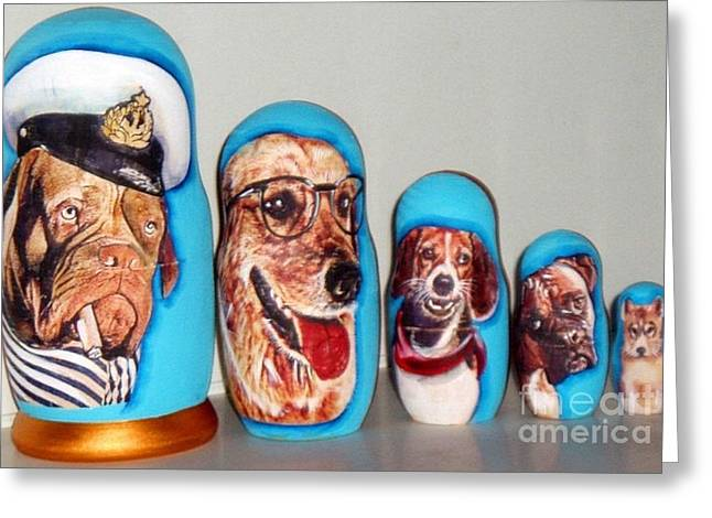 Toy Dog Sculptures Greeting Cards - Dogs Nesting doll Greeting Card by Viktoriya Sirris