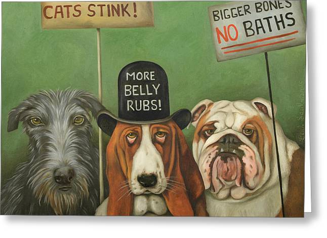 Hairy Dog Greeting Cards - Dogs On Strike Greeting Card by Leah Saulnier The Painting Maniac