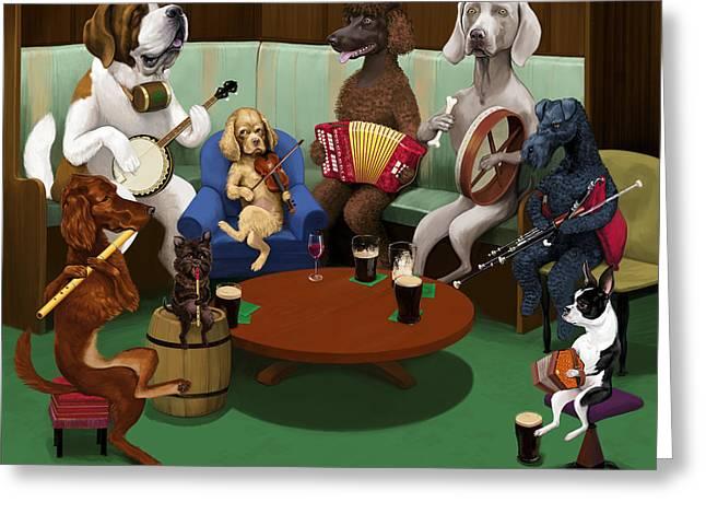 Irish Folk Music Greeting Cards - Dogs Playing Traditional Irish Music Greeting Card by Jon Hammer