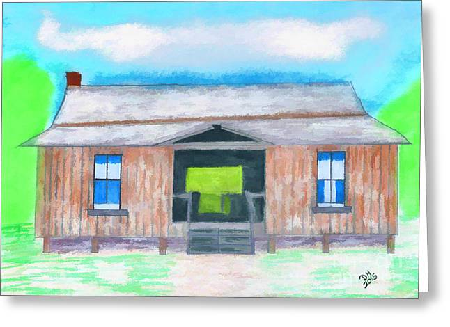 Dogtrot Cracker Home Drawing Greeting Card by D Hackett
