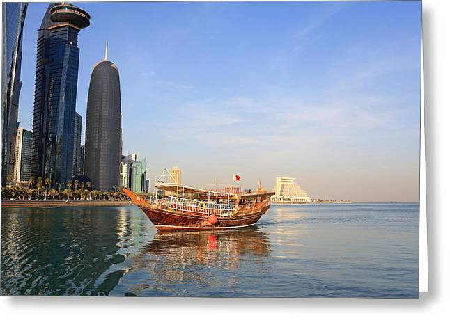 Doha Dhow And Towers  Greeting Card by Paul Cowan