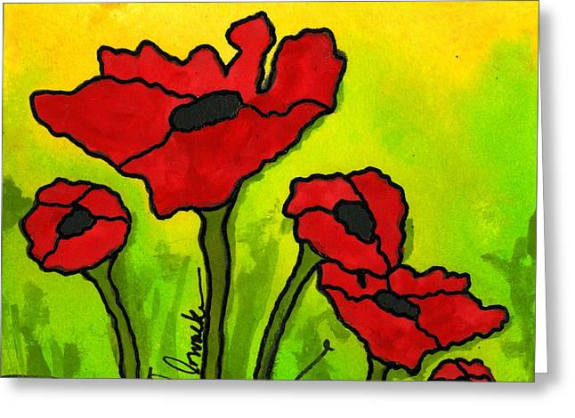 Survivor Art Greeting Cards - Doing The Poppy Shuffle Greeting Card by Angela L Walker