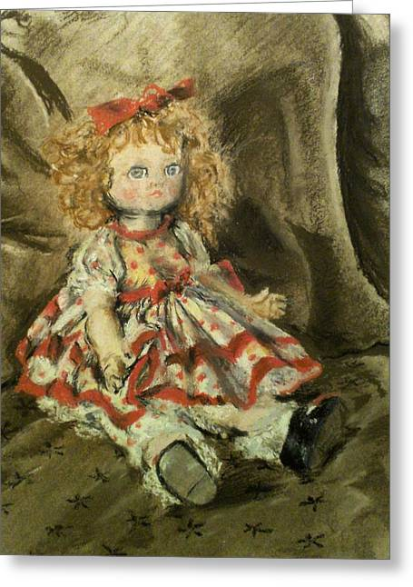 Cloth Pastels Greeting Cards - Doll Greeting Card by Nadia Lahlaf