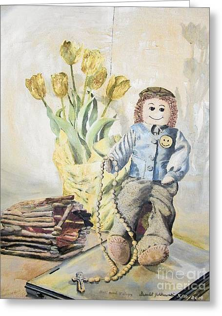 Rosary Greeting Cards - Doll with Tulips Greeting Card by Gerald Ziolkowski