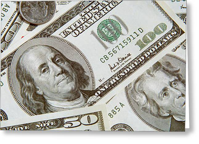 Dollars And Cents Currency Us Greeting Card by Panoramic Images