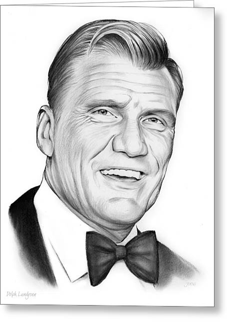 Dolph Lundgren Greeting Card by Greg Joens
