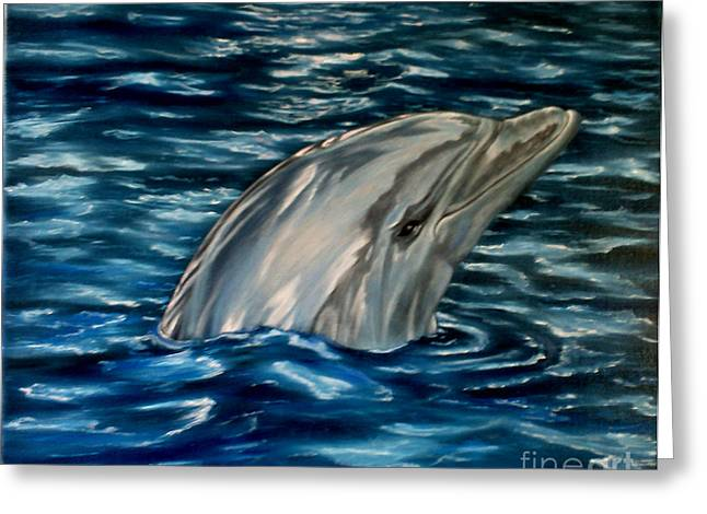 Dolphin Curiosity Oil Painting Greeting Card by Avril Brand