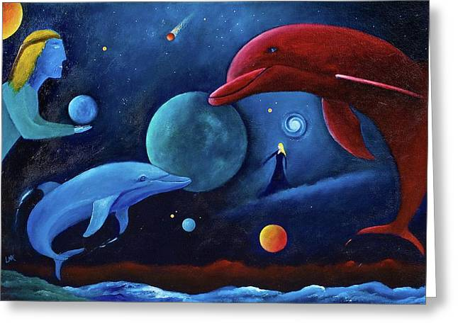 Dolphin Art Print Greeting Cards - Dolphin Magic Greeting Card by Lawrence Neal Katzman