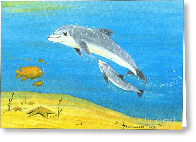 Snorkel Greeting Cards - Dolphin Mother and Calf Greeting Card by Jerome Stumphauzer