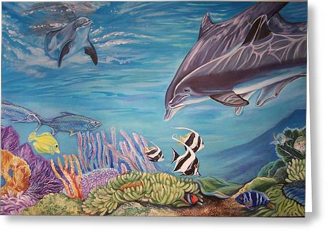 Reef Fish Paintings Greeting Cards - Dolphin Pod Greeting Card by Diann Baggett