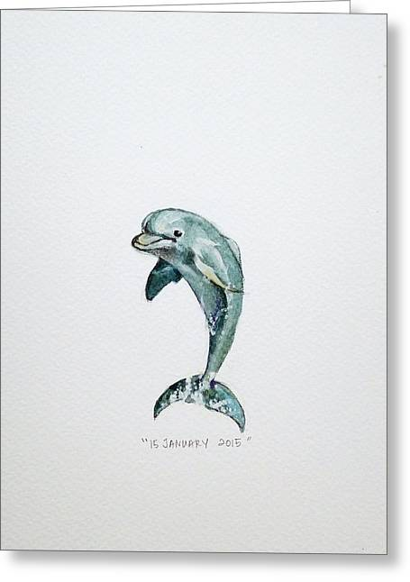 Ocean Mammals Greeting Cards - Dolphin Greeting Card by Venie Tee
