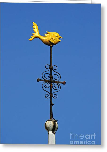 Weathervane Greeting Cards - Dolphin weathervane.  Greeting Card by Stan Pritchard