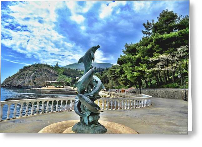 Sea View Greeting Cards - Dolphins  Along The Black Sea Coast   Greeting Card by Rick Todaro