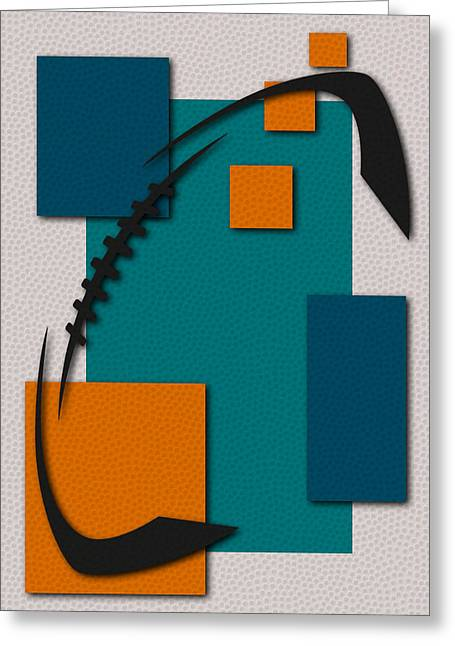 Miami Dolphins Greeting Cards - Dolphins Football Art Greeting Card by Joe Hamilton
