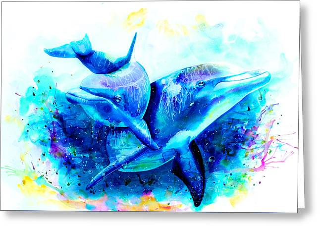 Dolphins Drawings Greeting Cards - Dolphins Greeting Card by Isabel Salvador