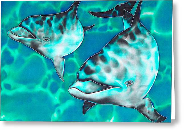 Print Tapestries - Textiles Greeting Cards - Dolphins of Sanne Bay Greeting Card by Daniel Jean-Baptiste
