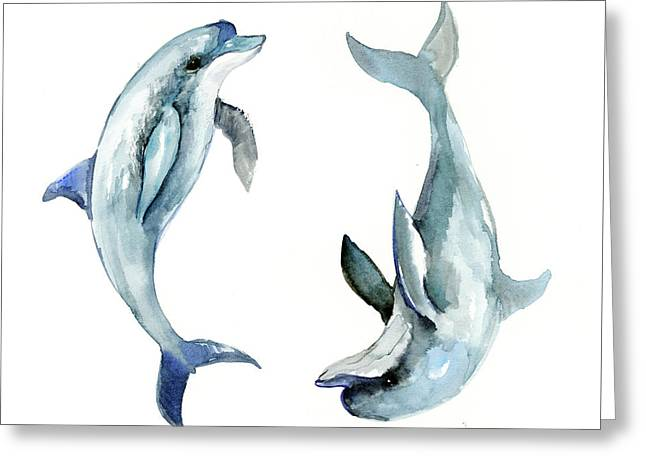 Dolphins Greeting Card by Suren Nersisyan