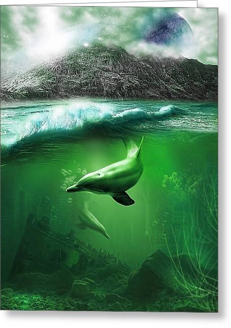 Underwater Scenes Greeting Cards - Dolphins Greeting Card by Svetlana Sewell