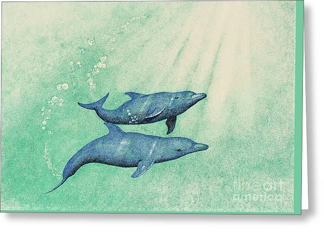 Dolphins Greeting Card by Wayne Hardee