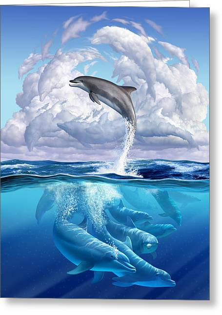 Swimming Greeting Cards - Dolphonic Symphony Greeting Card by Jerry LoFaro