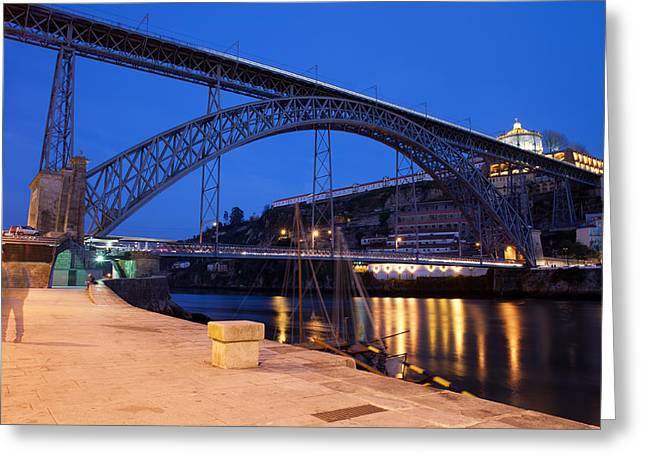 Gaia Greeting Cards - Dom Luis I Bridge by Night in Porto Greeting Card by Artur Bogacki