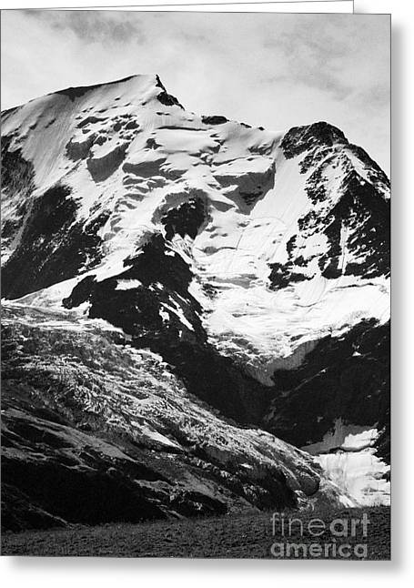 Geology Photographs Greeting Cards - Dome de Gouter on Mont Blanc and the Le glacier de Bionnassay Chamonix France Europe Black and White Greeting Card by Jon Boyes