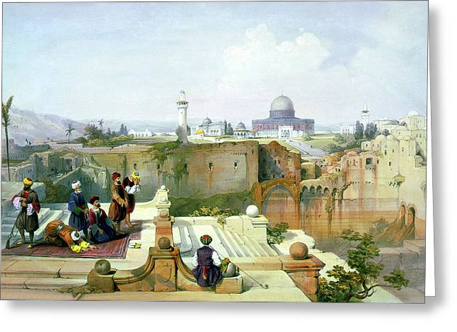 Holyland Greeting Cards - Dome of the Rock in the background Greeting Card by Munir Alawi