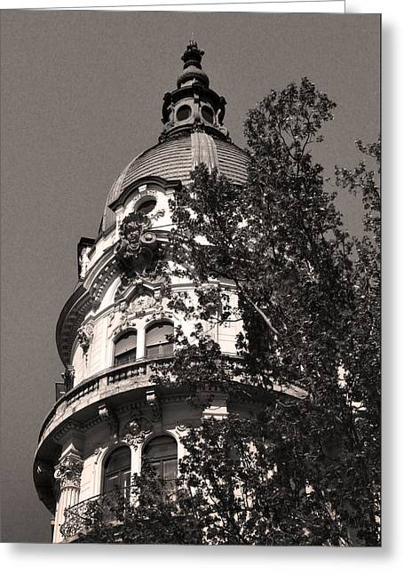 Belle Epoque Reliefs Greeting Cards - Domed Corner Tower Budapest Greeting Card by James Dougherty