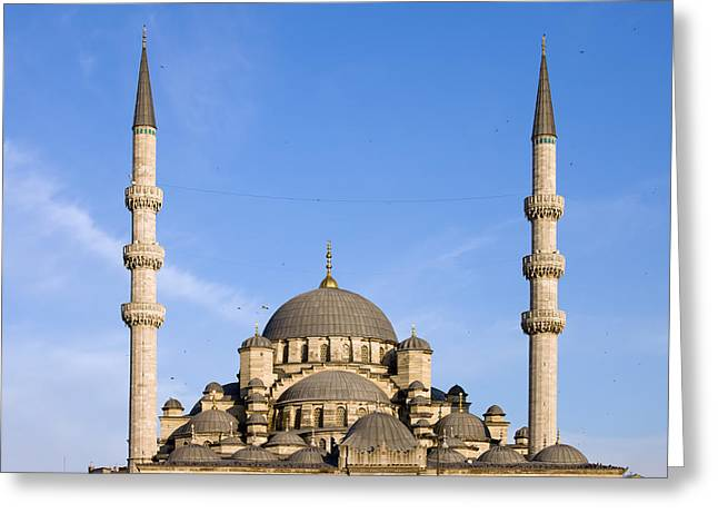 Domes And Minarets Of New Mosque In Istanbul Greeting Card by Artur Bogacki