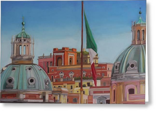 Dome Pastels Greeting Cards - Domes of Santa Maria di Loreto Greeting Card by Dani Altieri Marinucci