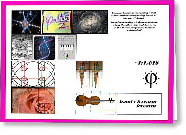 Proportions Mixed Media Greeting Cards - Domestic Violins Greeting Card by Peter Hedding