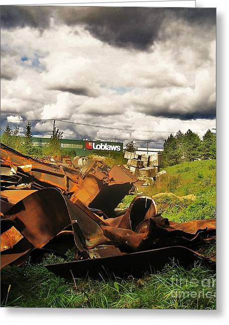 Photgraphy Greeting Cards - Domfer Deconstruction Twisted Metal Greeting Card by Reb Frost