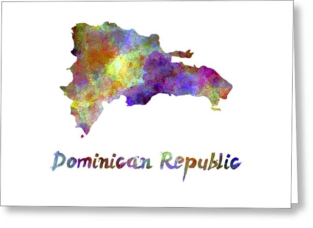 Dominican Republic In Watercolor Greeting Card by Pablo Romero