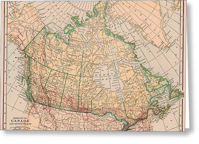 British Columbia Drawings Greeting Cards - Dominion of Canada and Newfoundland Vintage Map Greeting Card by Joshua Hullender