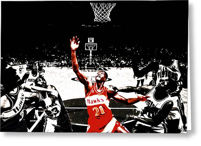 Nba All Star Game Greeting Cards - Dominique Wilkins in  the Paint Greeting Card by Brian Reaves