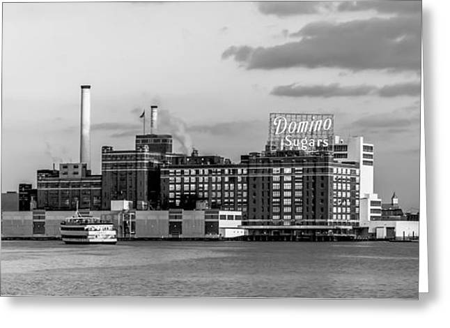 Domino Sugars - Grayscale Greeting Card by Brian Wallace